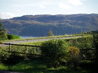 View from the sitting room south-west over Loch Carron to the hills beyond